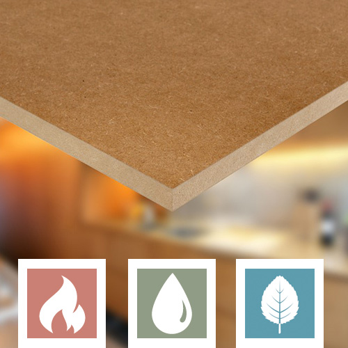 Moisture resistant and fire retardant MDF