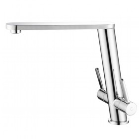 Angled Twin Lever Brushed Tap - Noyeks Newmans Ireland
