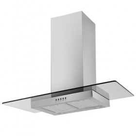 Kitchen extractor hood with tempered glass
