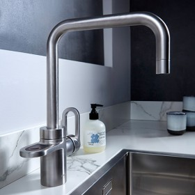 Hotspot Titanium Brushed Steel 3-in-1 tap for cold, hot and boiling water