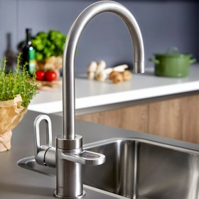 Hotspot Titanium Brushed Steel 3-in-1 tap for hot,cold and boiling water