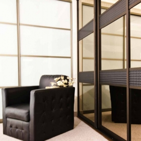 SLIDING WARDROBE DOORS - Bronze Frame and Brown Leather Bronze Mirror