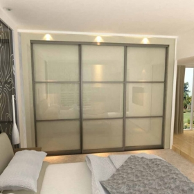 SLIDING WARDROBE DOORS - Champagne Frame and White Glass