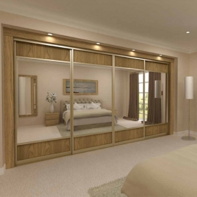 SLIDING WARDROBE DOORS - Gold Frame and Light Oak Panels and Silver Mirror