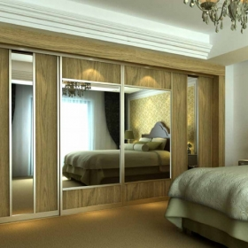 SLIDING WARDROBE DOORS - Gold Frame and Lissa Oak Panels Silver Mirror