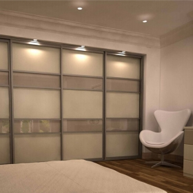 SLIDING WARDROBE DOORS - Champagne Frame and Cream Cappuccino Glass