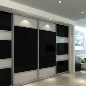 SLIDING WARDROBE DOORS - Chrome Frame and Black White Glass