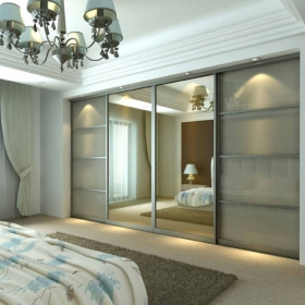 SLIDING WARDROBE DOORS - Chrome Frame and Cappuccino Glass Silver Mirror