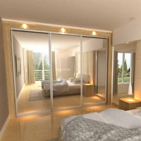 SLIDING WARDROBE DOORS - Chrome Frame and Silver Mirror