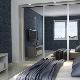 SLIDING WARDROBE DOORS - Chrome Frame and Silver Mirror Door